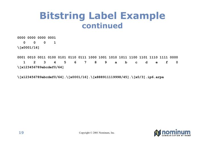 Bitstring Label Example
