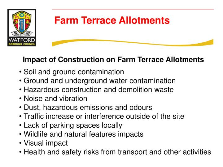 Impact of Construction on Farm Terrace Allotments