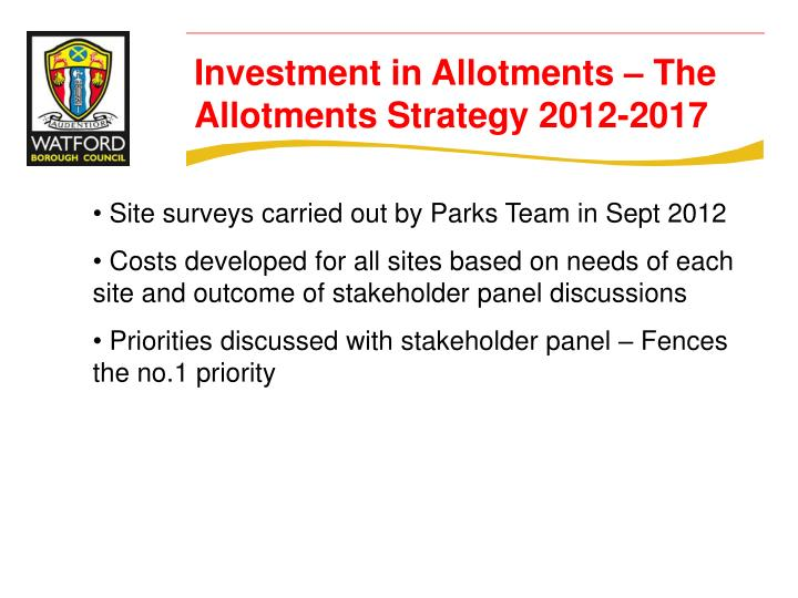 Site surveys carried out by Parks Team in Sept 2012