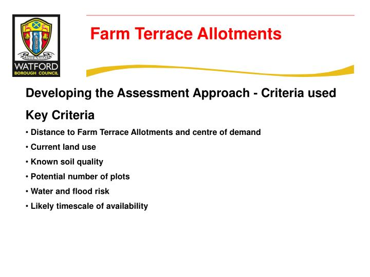 Developing the Assessment Approach - Criteria used