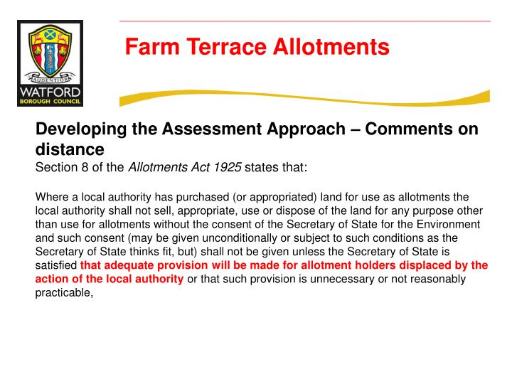 Developing the Assessment Approach – Comments on distance