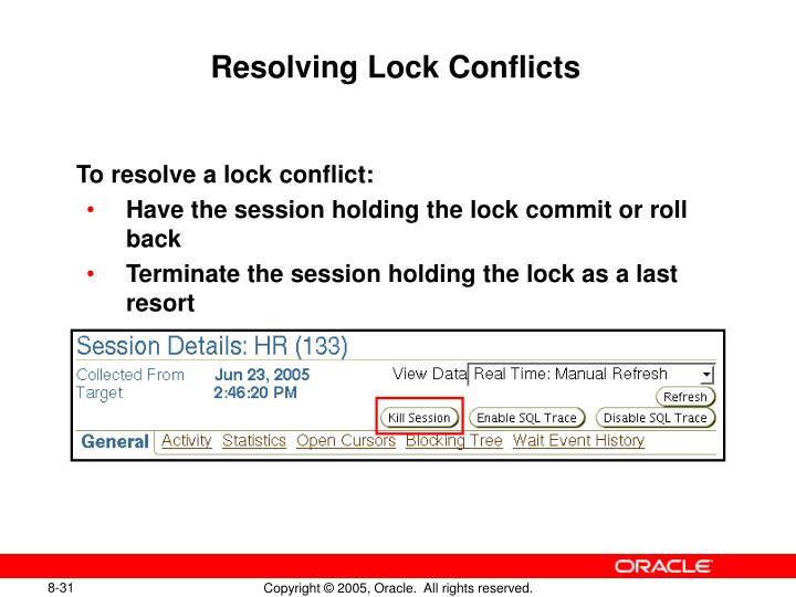 Resolving Lock Conflicts