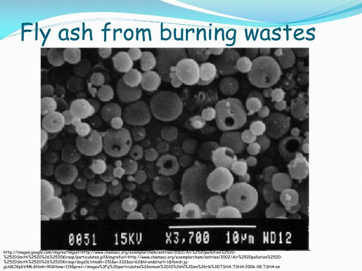 Fly ash from burning wastes