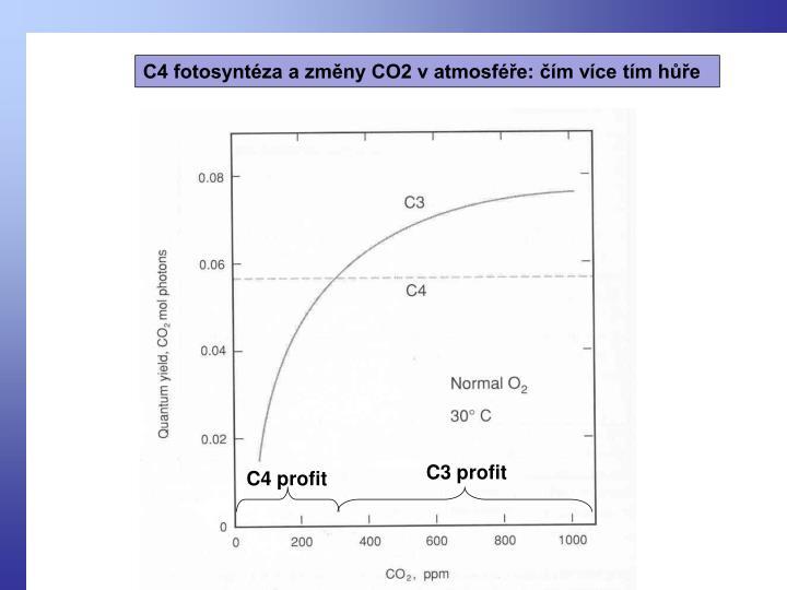 C4 fotosyntéza a změny CO2 v atmosféře: čím více tím hůře