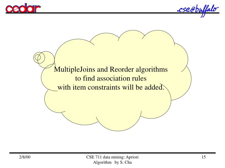 MultipleJoins and Reorder algorithms