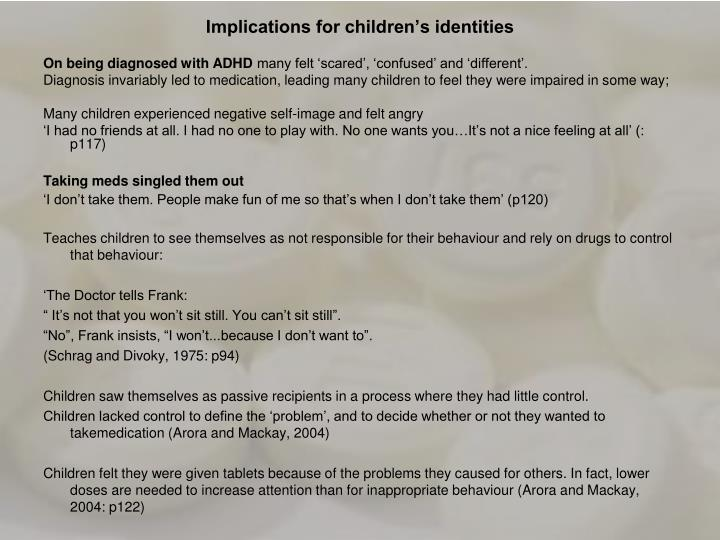 Implications for children's identities