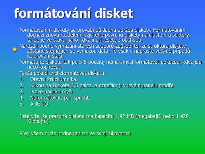 formátování disket
