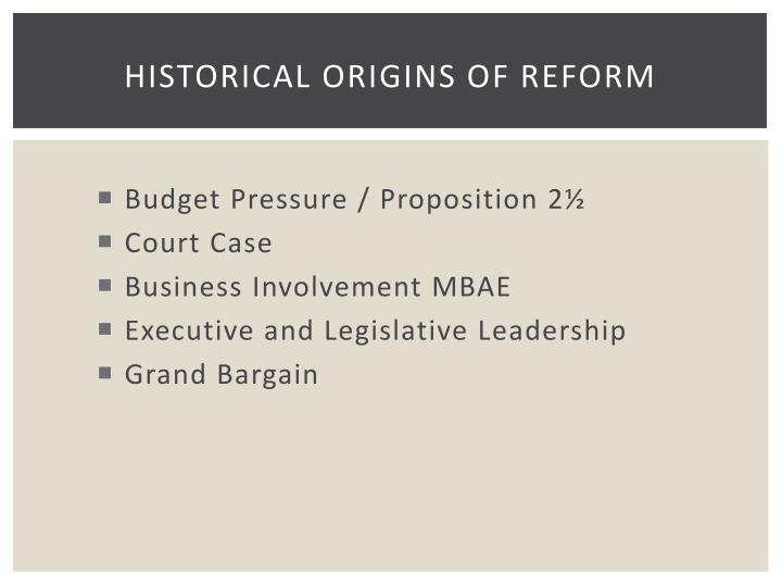 Historical origins of reform