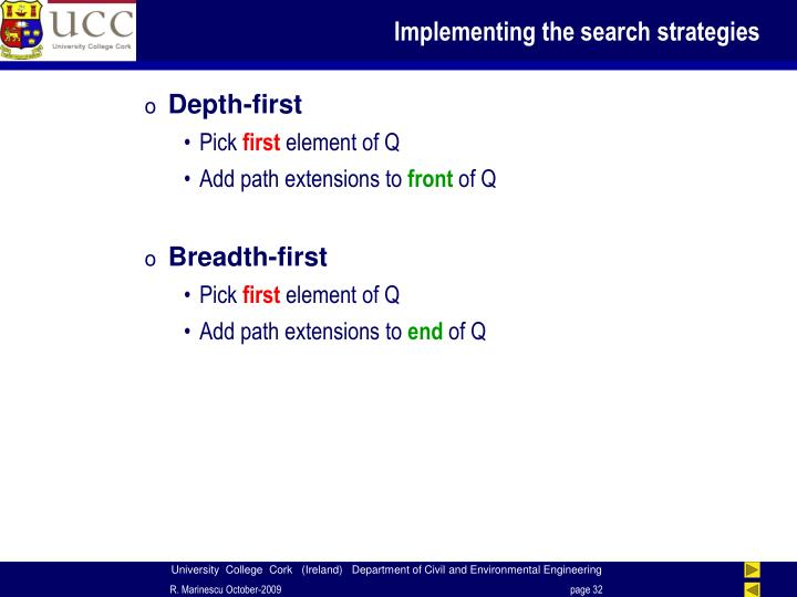 Implementing the search strategies