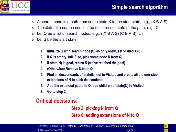 Simple search algorithm