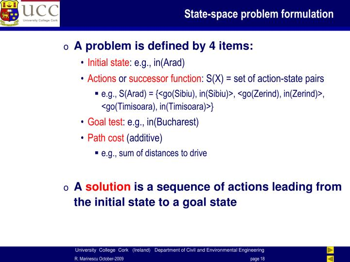 State-space problem formulation