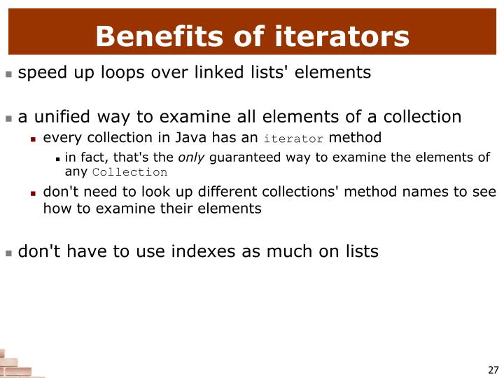 Benefits of iterators