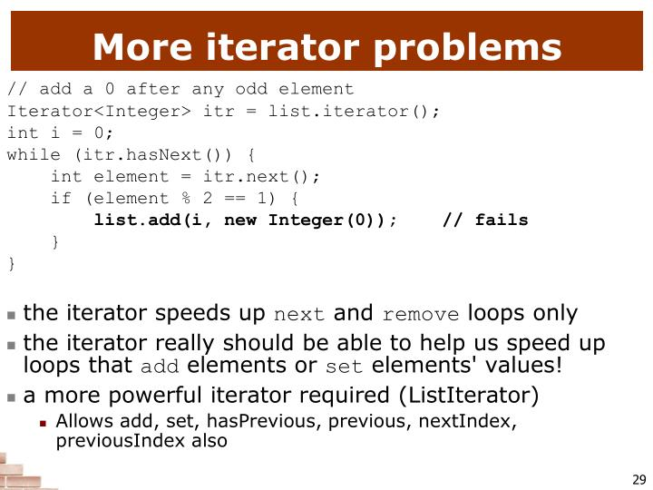 More iterator problems
