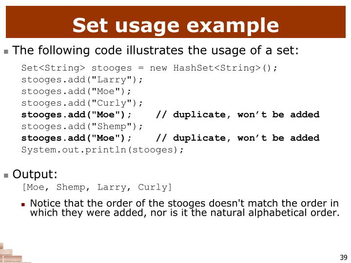 Set usage example