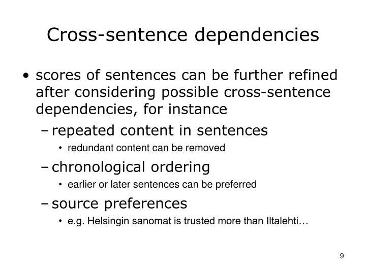 Cross-sentence dependencies