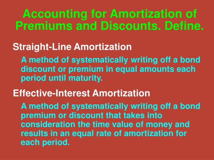 Accounting for Amortization of Premiums and Discounts. Define.