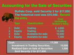 accounting for the sale of securities