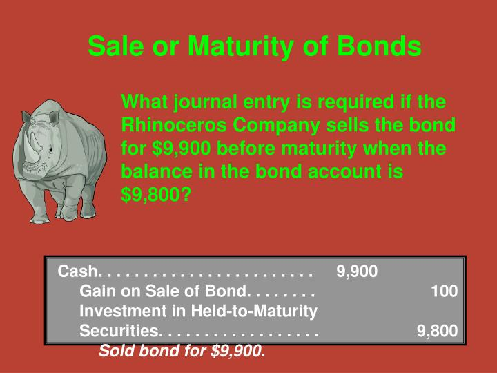 Cash. . . . . . . . . . . . . . . . . . . . . . . .9,900Gain on Sale of Bond. . . . . . . . 100Investment in Held-to-Maturity