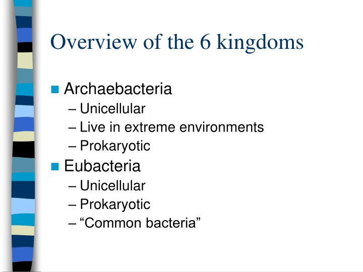 Overview of the 6 kingdoms