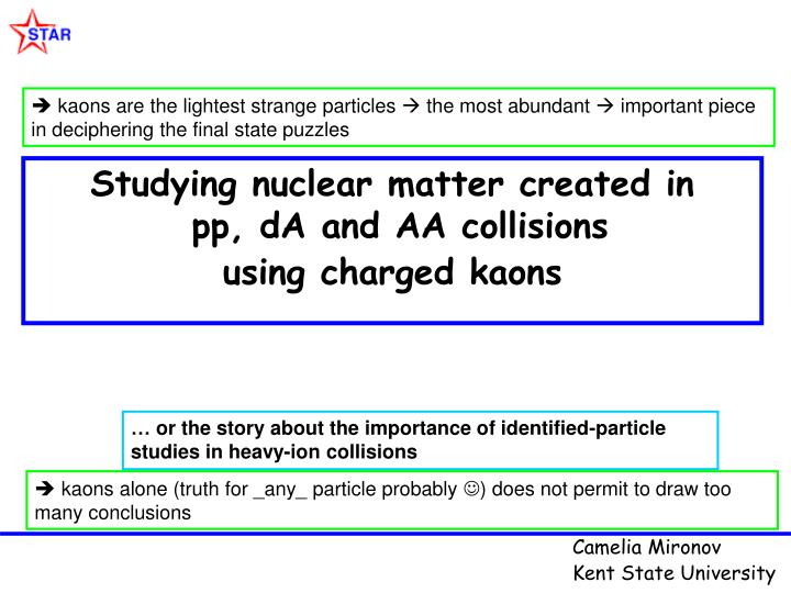 Studying nuclear matter created in pp da and aa collisions using charged kaons