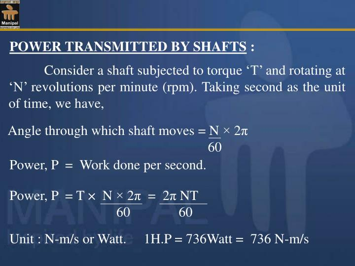 Angle through which shaft moves = N