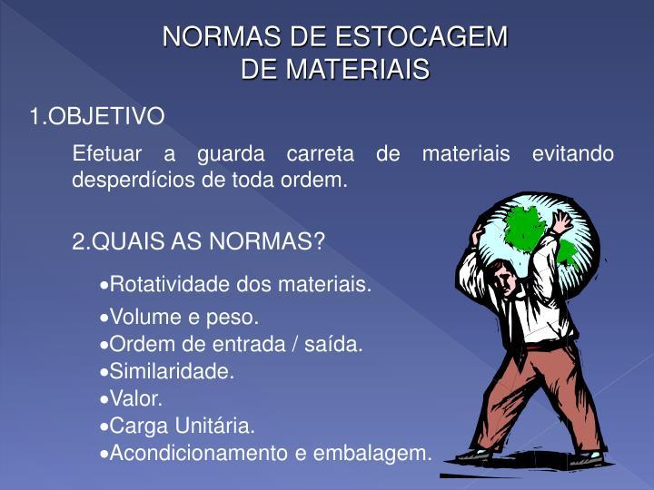NORMAS DE ESTOCAGEM