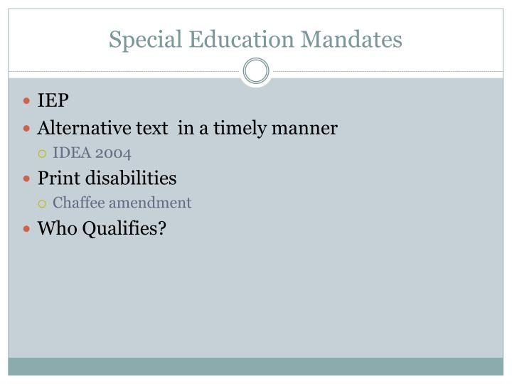 Special Education Mandates