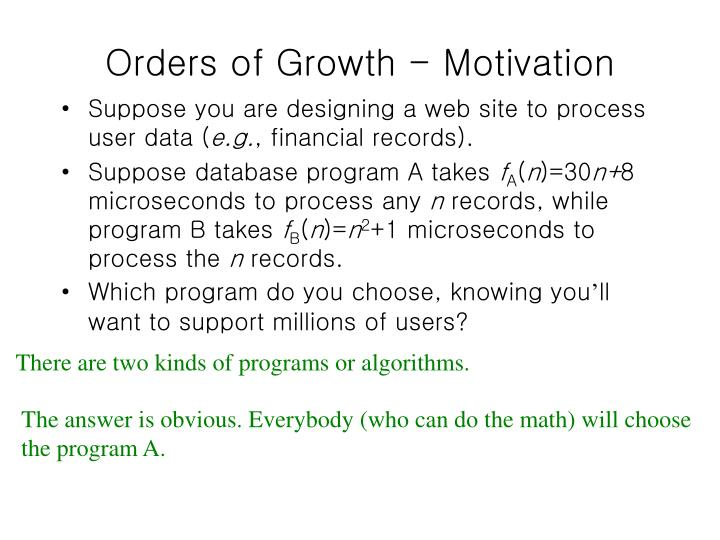 Orders of growth motivation