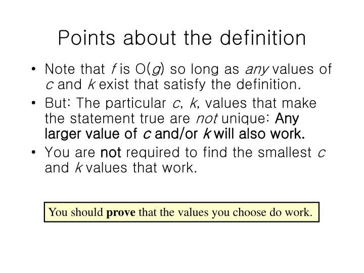 Points about the definition