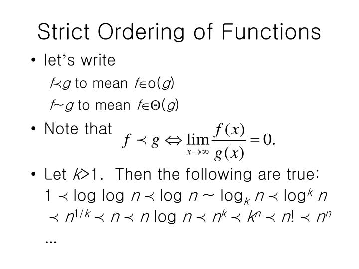 Strict Ordering of Functions