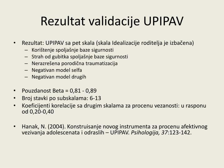 Rezultat validacije UPIPAV