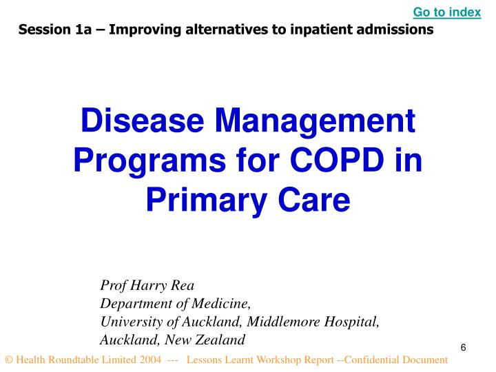 Disease Management Programs for COPD in Primary Care