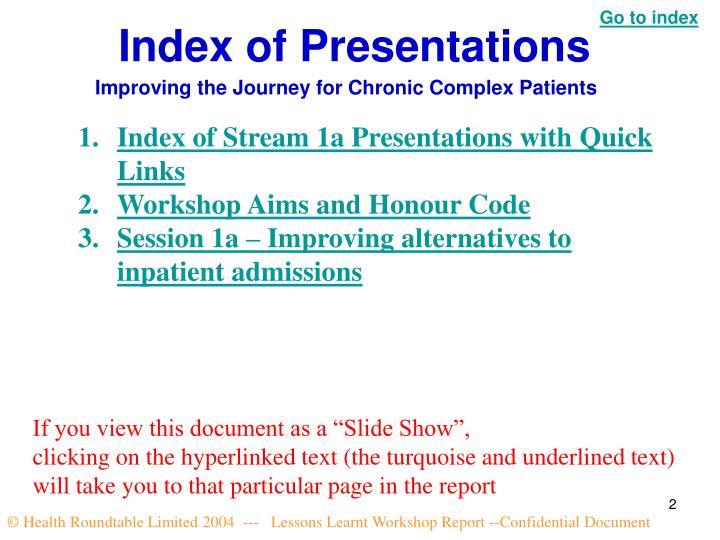 Index of Presentations