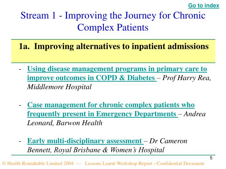 Stream 1 - Improving the Journey for Chronic Complex Patients