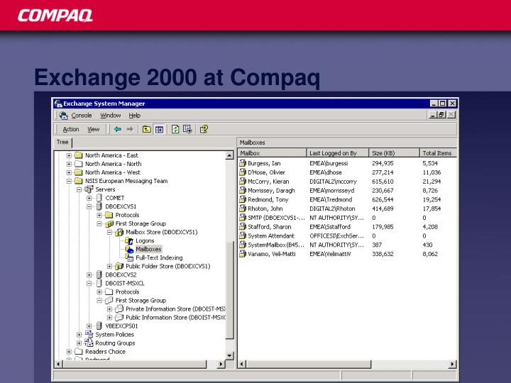 Exchange 2000 at Compaq
