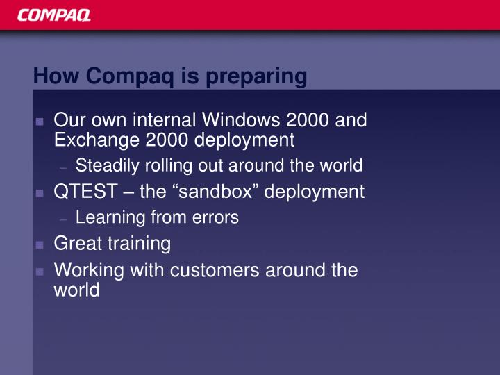 How Compaq is preparing