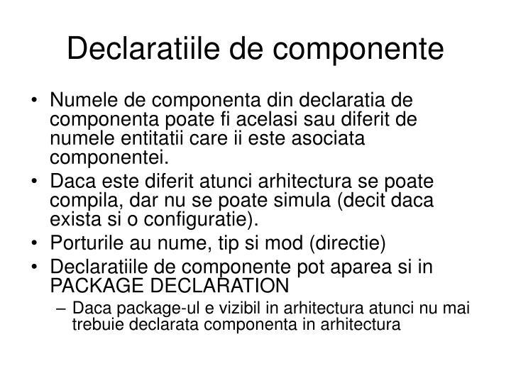 Declaratiile de componente