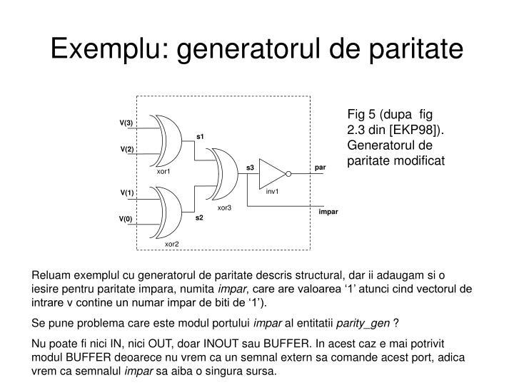 Exemplu: generatorul de paritate