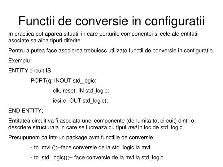 Functii de conversie in configuratii