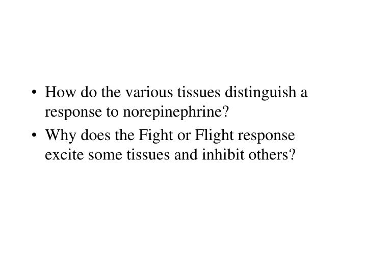 How do the various tissues distinguish a response to norepinephrine?