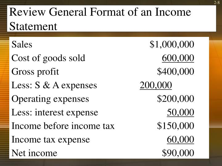 Review General Format of an Income Statement