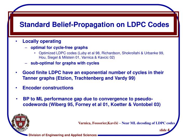 Standard Belief-Propagation on LDPC Codes