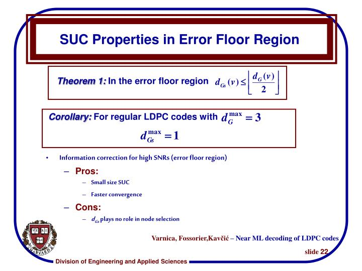 SUC Properties in Error Floor Region