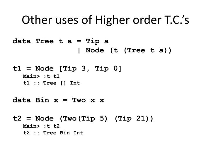 Other uses of Higher order T.C.'s