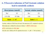a 9 excessive infusions of nacl isotonic solution lead to metabolic acidosis