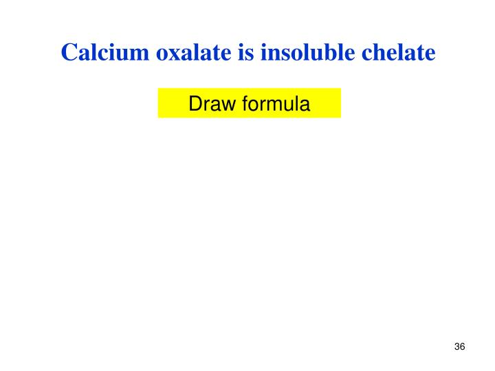 Calcium oxalate is insoluble chelate