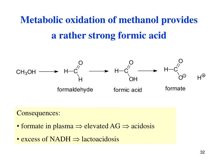 Metabolic oxidation of methanol provides            a rather strong formic acid
