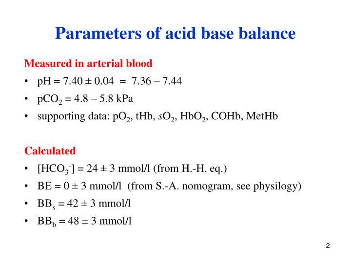 Parameters of acid base balance