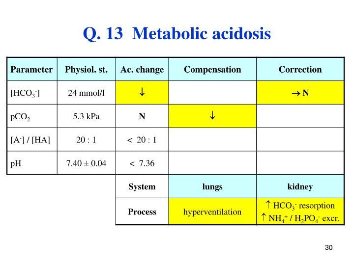 Q. 13  Metabolic acidosis