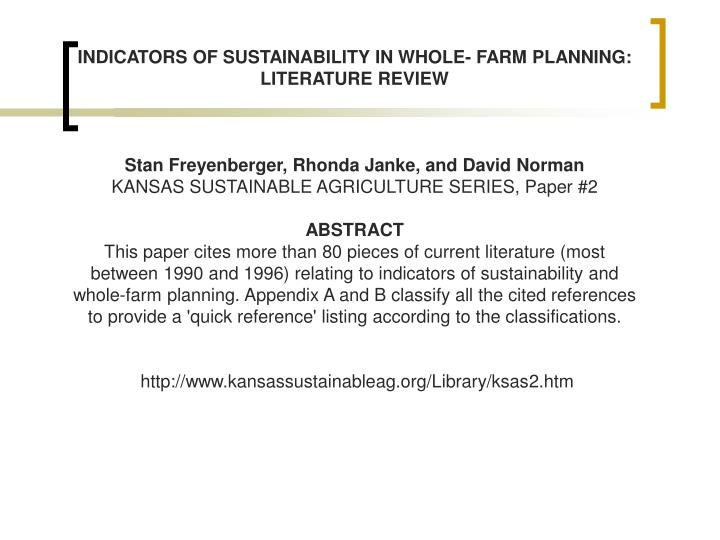 INDICATORS OF SUSTAINABILITY IN WHOLE- FARM PLANNING: